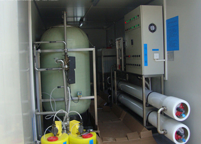 Containerized Brackish reverse osmosis water treatment plant for  drinking 6m3 / hour